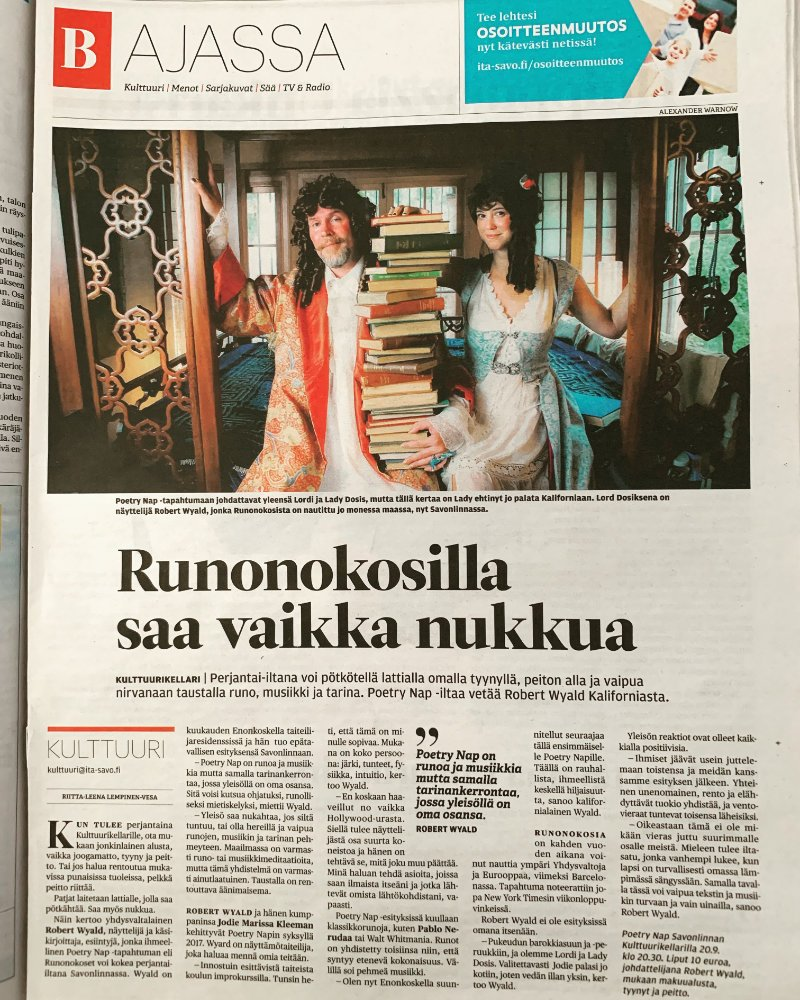 Poetry Nap featured in Finnish newspaper